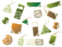 Recycling tags. Collection of tags and stickers with a recycling theme Royalty Free Stock Photo