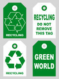 Recycling tags set front and back sidesOrganic eco natural cardboard label set. Vector illustration Royalty Free Stock Photos