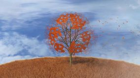 Recycling text on a tree, falling leaves. Footage of recycling text on a tree, falling leaves stock footage
