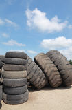 Recycling tires. Heap of old truck tires prepared for recycling stock photo