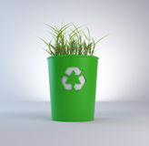 Recycling trash bin with growing Stock Image