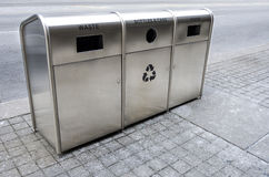 Recycling trash bins on the street Royalty Free Stock Images