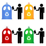 Recycling trash containers Stock Images