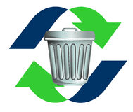 Recycling trash and rubbish. Illustration of a symbol or logo showing recycling waste and cleaning the environment and making it green Royalty Free Stock Photo