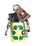 Recycling trash  on white. Details of computing system in the trash with recycling symbol Stock Photo