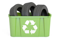 Recycling trashcan with tires of car, 3D rendering Stock Photography