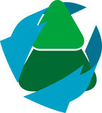 Recycling tree icon. Isolated illustration Royalty Free Stock Photography