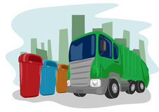 Recycling truck picking up bins Royalty Free Stock Photos