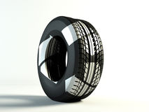 Recycling tyre. Brand new tyre, with recycling symbol,3d rendering of car wheel Royalty Free Stock Photography