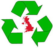 Recycling UK. Detailed illustration of the recycling symbol with the Great Britain outline inside Stock Image