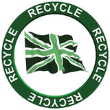 Recycling United Kingdom. A recycling portraying environmental issues with a green United Kingdom flag Royalty Free Illustration