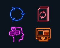 Recycling, Update document and Messages icons. Atm sign. Reduce waste, Refresh file, Notifications. Neon lights. Set of Recycling, Update document and Messages royalty free illustration