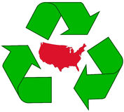 Recycling USA. Detailed illustration of the recycling symbol with the USA outline inside Stock Photography