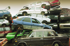 Recycling van auto's Stock Foto