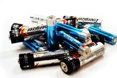 Recycling van gebruikte batterijen Stock Foto's