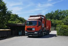 Recycling vehicle, truck, a heavy commercial vehicle at work. Recycling vehicle at work, truck, a heavy commercial vehicle royalty free stock image