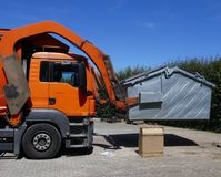 Recycling vehicle, truck, a heavy commercial vehicle at work. Recycling vehicle at work, truck, a heavy commercial vehicle stock images