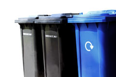 Recycling waste bins. Isolated on white background with copy space Royalty Free Stock Images