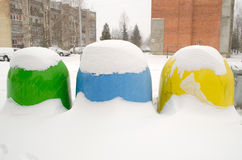 Recycling waste container bin winter snow house Stock Images