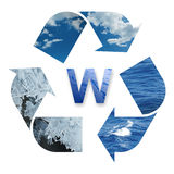 Recycling water. The recycling water's three phase: ice, vapor and liquid Royalty Free Stock Image