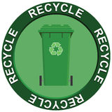 Recycling Wheelie Bin. Recycling portraying environmental issues with a green recycling bin Stock Illustration