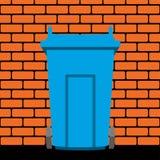 Recycling wheelie bin against the  brick wall, vector  Stock Photos