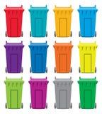 Recycling wheelie bin icons, vector  Royalty Free Stock Photos
