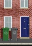 Recycling wheelie bins. House on street with recycling wheelie bins Stock Illustration