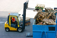 Recycling wood pallets Royalty Free Stock Images