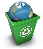 Recycling world. Illustration of heart in recycling garbage can (with clipping path Stock Photography