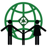 Recycling world. Concept illustration of a family holding hands in front of a green world with a recycling symbol Royalty Free Stock Photography