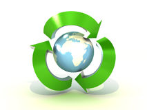 Recycling world on white background. 3D image Stock Photography