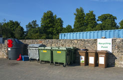 The recycling yard. Urban recycling yard with multiple types of bins Stock Photos