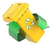 Recyclingsconcept met kringloopbak en groene pijlen Stock Afbeeldingen