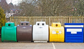 Recyling waste into seperate containers. Royalty Free Stock Photography