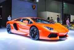 Red(orange) lamborghini coupe Royalty Free Stock Images