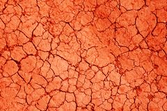 Red сracks texture ground surface soil, drought, dried clay,  ground on Mars.  royalty free stock photography