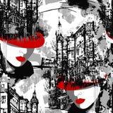 in Red?? 高雅巴黎 都市风景的无缝的样式与一名妇女的一个红色帽子的 库存例证