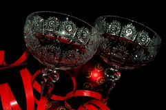 Red. Two wine glass with black background Royalty Free Stock Photography