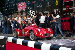 Red 1948 Fiat RG1 at the start of 2012 1000 Miglia Royalty Free Stock Photography