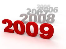 Red 2009. 3d 2009. White background. Digitally Generated Vector Illustration