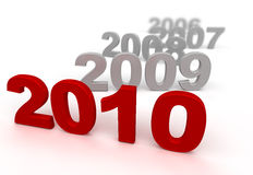 Red 2010. 3d image of 2010. White background Royalty Free Stock Photos