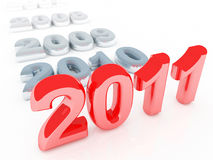 Red 2011 new year background. Red 2011 3d background and old gray years Royalty Free Stock Photo