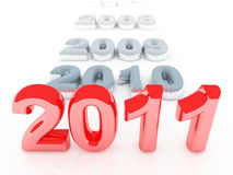 Red 2011 new year background. Red 2011 3d background and old gray years Stock Photo