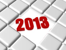 Red 2013 in boxes. 3d red year 2013 between grey boxes Royalty Free Stock Photo