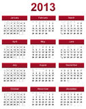 Red 2013 calendar Stock Photography