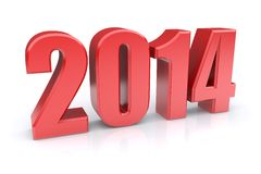 Red 2014 year. On a white background. 3d rendered image Stock Photo