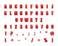 Red 3d alphabet and signs on white. Background vector illustration