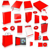 Red 3d blank cover collection. On white Stock Photo
