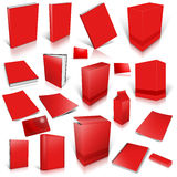Red 3d blank cover collection. On white Stock Image